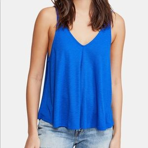 A relaxed, swinging fit tank top